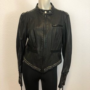 Free People black studded Moto jacket Black Size 8